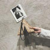 斜背包 迷你斜挎包單肩包草編粽子包女包三角包燈籠手拎包【紐約周】
