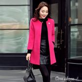 外套大碼女裝春秋 裝春季修身中長款毛呢大衣呢子外套女 早秋最低價促銷