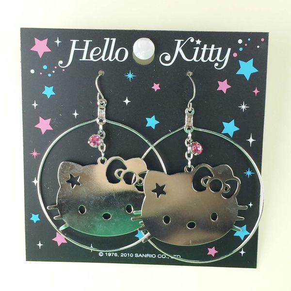 【震撼精品百貨】Hello Kitty 凱蒂貓~造型耳環-大頭圓圈造型