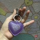 包包吊飾 原單  水晶 心形 紫色 高檔 愛心 皮鑰匙扣 包包皮吊飾
