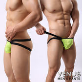 情趣用品 男用三角內褲  猛男 VENUS 網紗條紋 男士雙丁 性感情趣 透明丁字褲 黃