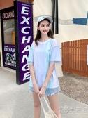 聯名款網紗t恤女夏裝新款白色短袖上衣寬鬆丅恤 小時光生活館