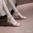 涼鞋仙女風2021夏季新款一字扣帶黑色高跟鞋細跟 快速出貨