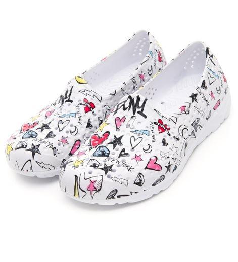 PONY 中性款白色塗鴉洞洞水鞋TROPIC-NO.92U1SA06RW