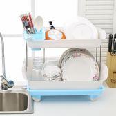 置物台 雙層廚房碗碟置物架加厚塑料瀝水架碗架餐具收納架碗柜大號【美物居家館】