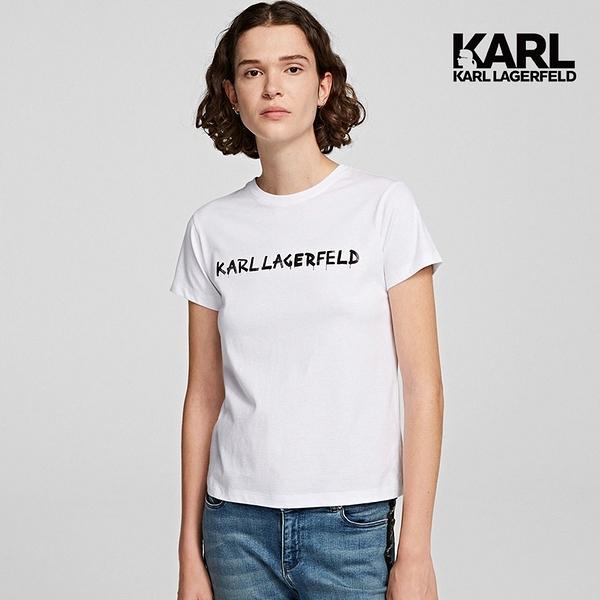 【KARL LAGERFELD】塗鴉LOGOT恤-白