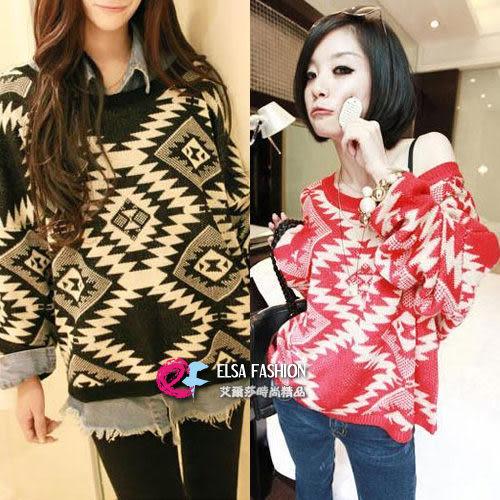 *艾爾莎*【TAC1402】歐美時尚復古幾何圖形長袖毛衣