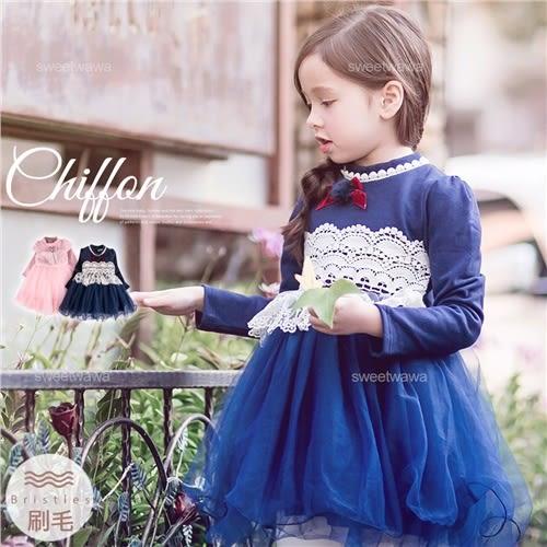 新年~珍珠布蕾雪紡織花層紗洋裝禮服(厚棉,內刷毛)~禦寒保暖(241004)★水娃娃時尚童裝★