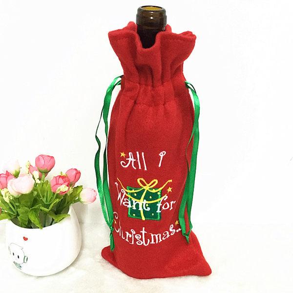 聖誕精靈紅酒袋 香檳紅酒袋 聖誕裝飾品
