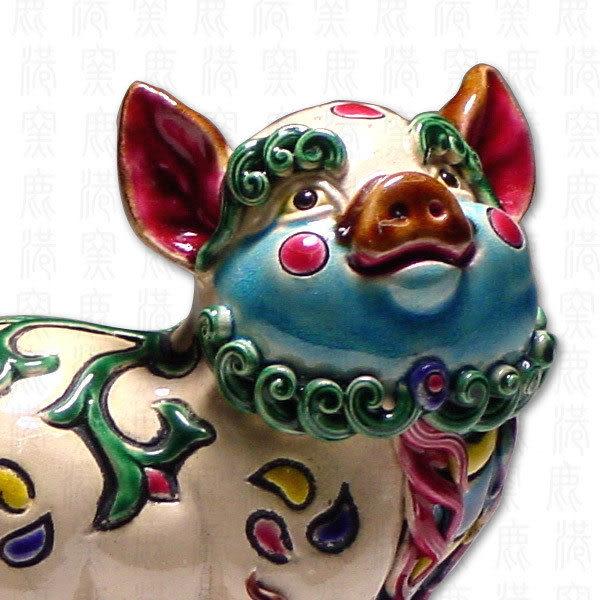 鹿港窯-居家開運商品-台灣國寶交趾陶S十二生肖文鎮-豬◆附精美包裝◆免運費送到家