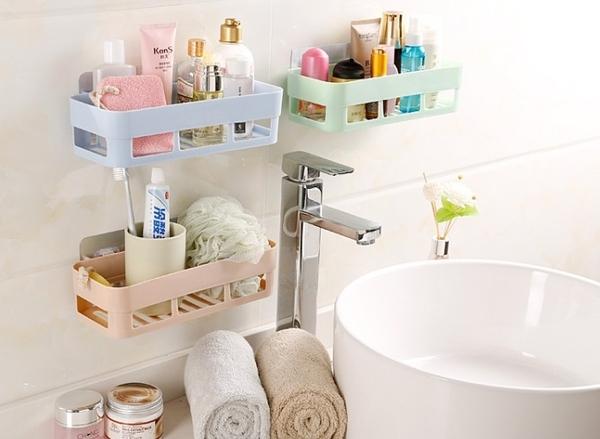 浴室壁掛式置物架免打孔無痕吸壁洗漱用品儲物架廁所衛生間收納架【H00856】