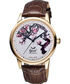 Ogival 愛其華 花繪經典彩繪機械腕錶-梅花版x玫塊金框 1929-24.1AGR皮