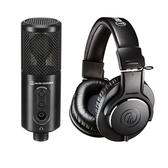 【聖影數位】日本 鐵三角 audio-technica ATR2500xUSB+ATHM20x 心型指向性電容式USB麥克風+專業型監聽耳機
