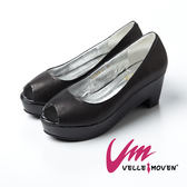 Velle Moven~簡約系列~都會簡約厚底高跟鞋_氣質黑
