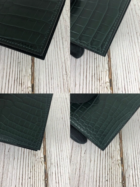 BRAND楓月 HERMES 愛馬仕 墨綠色 鱷魚皮 卡夾 卡包 名片夾