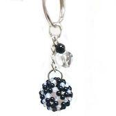 白水晶黑瑪瑙球雙色繡球鑰匙圈