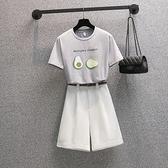 大碼套裝L-4XL短袖T恤高腰五分褲西褲兩件套裝MR26依佳衣