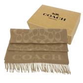【COACH】經典C LOGO 喀什米爾羊毛流蘇圍巾禮盒(駝色)