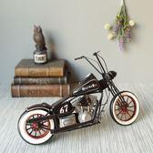 復古風鐵皮老式CHOPPER摩托車模型交通工具擺飾物禮物-達可家居