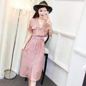 連衣裙女夏2018新款韓版氣質V領中長款單排扣襯衫裙吊帶裙兩件套