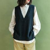 V領無袖針織衫 針織馬甲 針織背心/2色-夢想家-1011