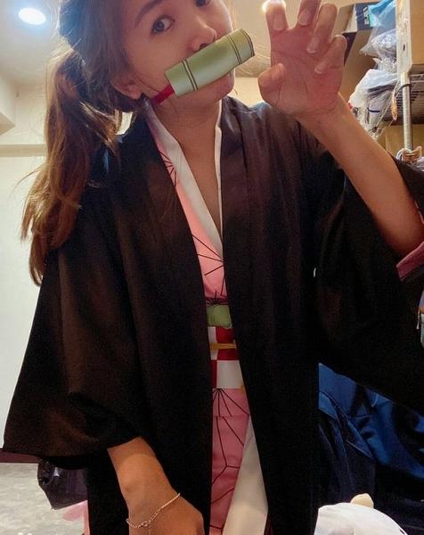 衣童趣(•‿•)兒童角色扮演 鬼滅之刃 cosplay服 童裝 彌豆子 萬聖節 派對表演套裝【現貨】