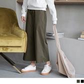 《BA3751》高棉質.抽繩鬆緊輕磨毛直筒闊腿褲--適 2L~6L OrangeBear
