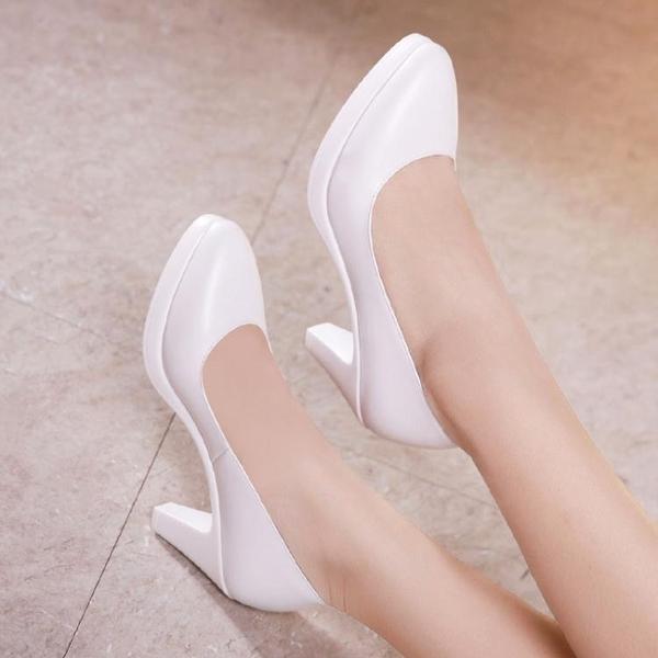 高跟鞋女 細跟鞋 11cm旗袍走秀尖頭單鞋百搭大碼職業工作鞋韓版女鞋子【多多鞋包店】ds5281