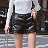 中大尺碼XL-4XL韓版休閒短皮褲休閒27349大碼女裝2018秋季新款胖mm200斤顯瘦皮短褲愛尚布衣