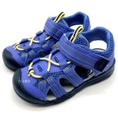 《7+1童鞋》中童 日本 MOONSTAR 月星 SGC5125 透氣 魔鬼氈 護趾機能涼鞋 C486 藍色