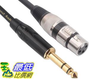 [9美國直購] TISINO XLR 音源傳輸線 Female to 1/4 Inch (6.35mm) TRS Jack Lead Balanced Signal Interconnect Cable
