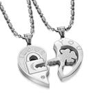 鈦鋼項鍊(一對)-心型鑰匙拼圖情人節生日禮物情侶對鍊3色73cl2【時尚巴黎】