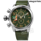 elegantsis / ELJF48QS-OG03LC / 美軍閃電 機頭藝術女郎彩繪視覺藍寶石水晶計時義大利真皮手錶 綠色 48mm