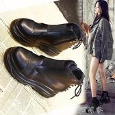 鬆糕單靴女英倫風馬丁靴棉鞋圓頭秋靴子厚底短靴女鞋 盯目家