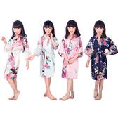 兒童睡袍夏季薄款模擬絲家居服日式開衫袍男女童印花孔雀睡衣 88111