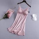 睡裙 蕾絲吊帶睡裙女夏冰絲性感帶胸墊薄款女士正韓誘惑睡衣-Ballet朵朵