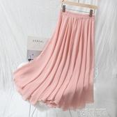 夏季雪紡長裙及踝仙女裙半身裙2019很仙的網紗裙高腰大擺裙簡約風 依凡卡時尚