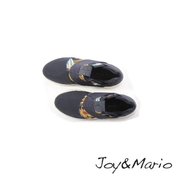 【Joy&Mario】彈性繃帶拼接花卉輕量休閒鞋 - 76066W NAVY