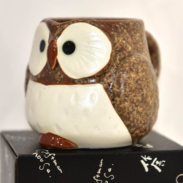貓頭鷹 陶瓷馬克杯 日本製造 茶色