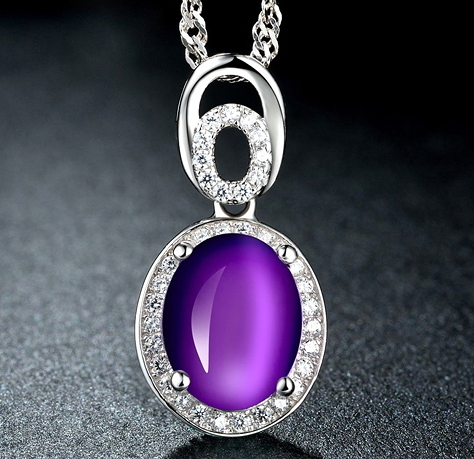紫水晶銀吊墜S925純銀項鏈100tb41【Brag Na義式精品】