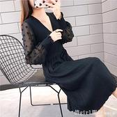 2020春秋洋裝V領收腰女氣質寬鬆毛衣裙蕾絲氣質打底裙大碼A字裙 年終大酬賓