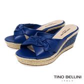 Tino Bellini 巴西進口雙層紐結皮雕楔型涼拖鞋 _ 藍 A83056 歐洲進口款