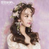 新娘頭飾  新款新娘頭飾韓式仙美森繫頭花結婚敬酒首飾婚紗禮服飾品髮飾 新品
