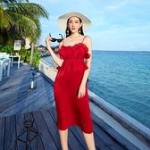 波希米亞長裙-時尚性感細肩帶純色洋裝73sg65[巴黎精品]