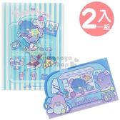 〔小禮堂〕山姆企鵝日製L 型文件夾組《2 入藍條紋食物》旅行餐車系列4901610 23931