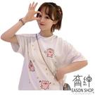 EASON SHOP(GW2219)韓版可愛小豬薄款長版OVERSIZE圓領短袖T恤裙女上衣服落肩內搭衫寬鬆素色棉T恤