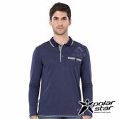 PolarStar 男 吸排長袖POLO衫『深藍』P19221 上衣 男版 休閒 戶外 登山 吸濕排汗 透氣