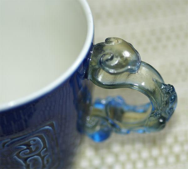 鹿港窯~ 琉璃耳 陶藝咖啡杯【寶藍圖騰對杯】(二杯二盤)附精美包裝◆免運費送到家