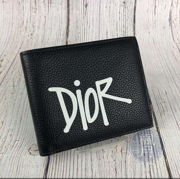 BRAND楓月 DIOR HOMME 迪奧男士 2PUBH027YZS LOGO 塗鴉短夾 二折短夾 皮夾 錢包 錢夾