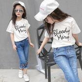 女童短袖T恤韓版兒童裝中大童女裝LJ4516『黑色妹妹』